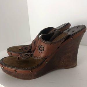 Jack Rogers brown wooden heel wedges sandals